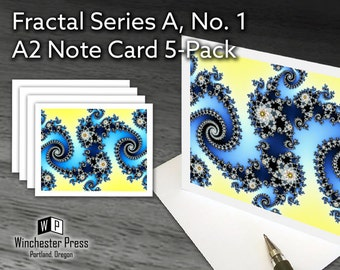 Stationary Card Set for Woman, Gift for Woman, Blue Waves Note Cards Set, Pretty Hostess Gift, Abstract Notecards Set, Diamonds Stationary