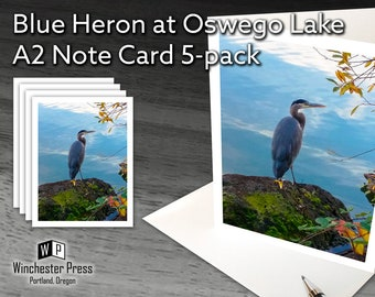 Fathers Day Gift for Bird Lover, Heron Note Cards, Great Blue Heron Stationery, Bird Note Cards, Blue Heron Stationary, Bird Stationery Set