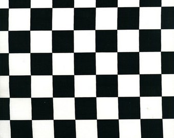 """Checkered Flag Fabric by the Yard, 1"""" Racing Check Fabric, Black and White Fabric, Quilting Fabric Cotton, Novelty Fabric Nursery"""