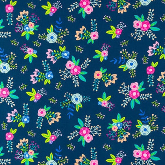 Navy Blue Fabric Sewing Accessories Apparel Fabric Home Decor Fabric 44 Inch Cotton Fabric By The Yard ZBC1067 Floral Print