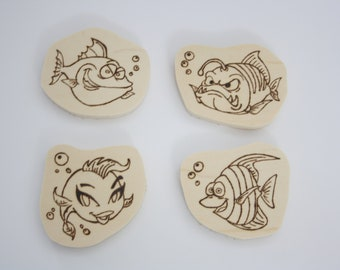 Wooden magnets, fish, pirografo engraving, gift idea