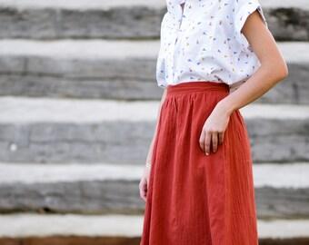 9470a461b4 Linen Blend Midi Skirt, Minimalist Orange Midi Skirt with Pockets, Half  Elastic Waist A Line Midi Skirt