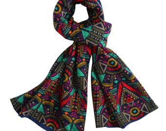 Tribal Scarf, Multicolored Winter Scarves, Double Layered Scarves, Jersey/Cotton Scarves