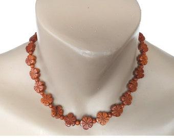 Hawaiian Jewelry Koa Wood All Plumeria Flower Necklace From Maui Hawaii