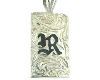 Hawaiian Heirloom Jewelry Custom Sterling Silver Initial 15mm Pendant - YOUR INITIAL from Maui, Hawaii