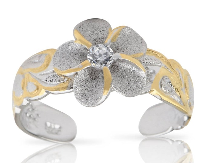 Hawaiian Jewelry Sterling Silver with 14k Gold Finish CZ Plumeria Flower Toe Ring from Maui, Hawaii
