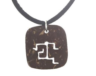 Hawaiian Jewelry Handmade Petroglyph Hawaiian Runner Coconut Shell Pendant From Maui Hawaii