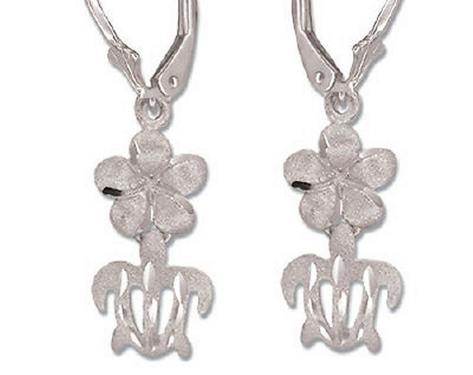 Hawaiian Jewelry 14 Karat White Gold Plumeria Flower Honu Turtle Dangle Earrings from Maui, Hawaii