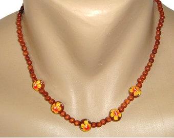 Hawaiian Jewelry Koa Wood Bead Yellow Hibiscus Flower Necklace From Maui Hawaii