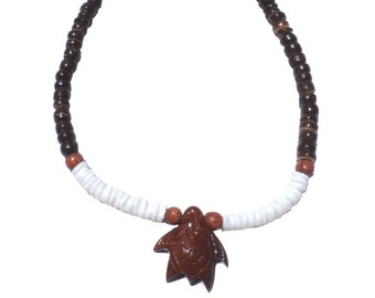 Hawaiian Jewelry Handmade Koa Wood Turtle with Puka Shells and DARK BROWN Coconut Bead Anklet From Maui Hawaii
