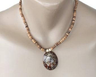 Hawaiian Jewelry Opihi Shell Coconut Bead Necklace Pendant from Maui, Hawaii