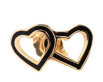 Hawaiian Heirloom Jewelry 14 Karat Gold Double Heart Black Enamel Earrings from Maui, Hawaii