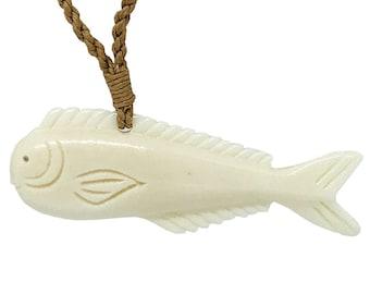 Hawaiian Jewelry Hand Carved Bone Mahi Mahi Dorado Fish Necklace Pendant From Maui Hawaii