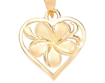 Hawaiian Heirloom Jewelry Solid 14k Gold Small Plumeria Heart Pendant from Maui, Hawaii