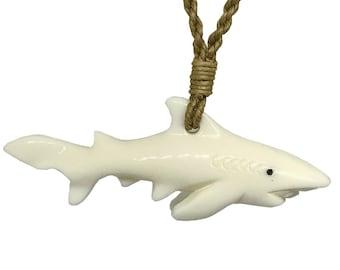Hawaiian Jewelry TIGER Shark Buffalo Bone Hand Carved Pendant Necklace Hawaii From Maui Hawaii
