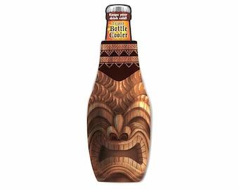 Happy Hawaiian Tiki Bottle Insulator Cooler Neoprene Bottle Suit with Zipper from Maui, Hawaii