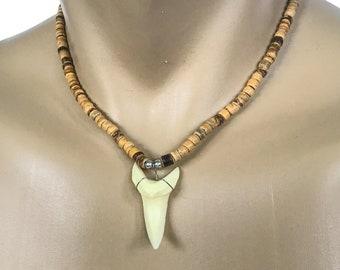 Large Hawaiian Jewelry Tan Coconut Bead Resin Shark Tooth Hawaii Necklace From Maui Hawaii