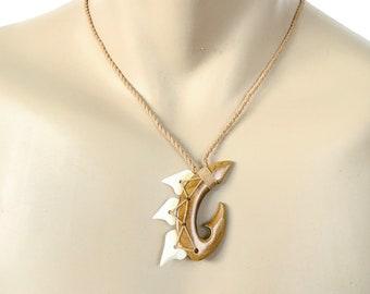 Hawaiian Jewelry Handmade Hawaii Koa Wood Shark Tooth Fish Hook Necklace Pendant From Maui Hawaii
