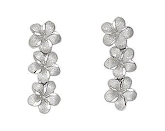 Hawaiian Jewelry 14 Karat White Gold 3 Dangling Plumeria Flower Earrings from Maui, Hawaii