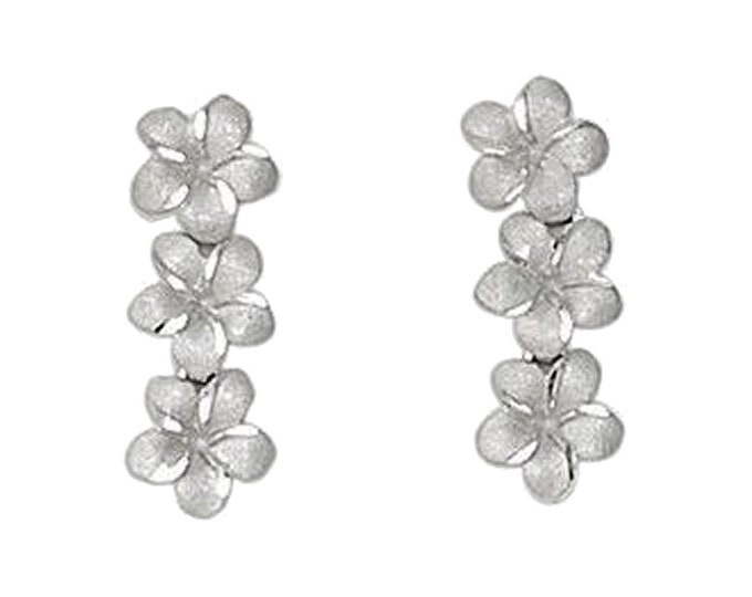 Hawaiian Jewelry 14 Karat White Gold 3 Dangling Plumeria Flower Earrings from Maui, Hawaii