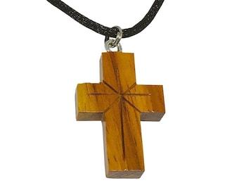 Hawaiian Jewelry Handmade Large Koa Wood Carved Cross Pendant Necklace From Maui Hawaii