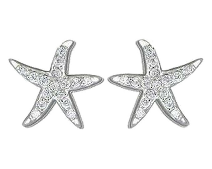 Hawaiian Jewelry Sterling Silver CZ Starfish Sea Life Earrings from Maui, Hawaii