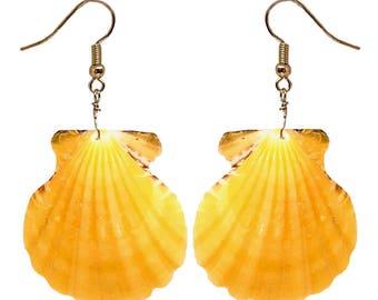 Hawaiian Jewelry Handmade Large Orange Scallop Shell Pierce Earrings from Kauai