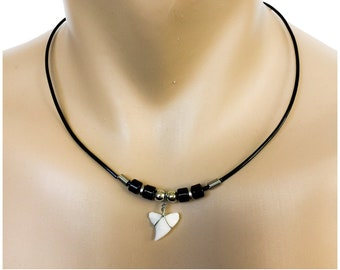 Small Hawaiian BLACK Bead Shark Tooth Hawaii Necklace From Maui Hawaii