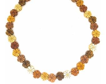 Hawaiian Jewelry Handmade Hawaiian Plumeria Flower Koa and Mahogany Wood Flower Hand Carved Necklace From Maui Hawaii