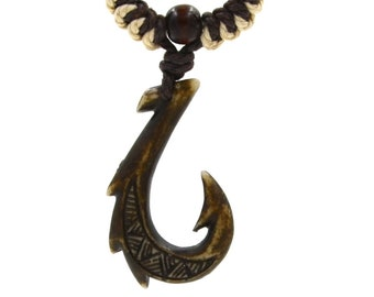 Hawaiian Jewelry Manu Makau Style Fish Hook Necklace with Hawaii Koa Wood Bead