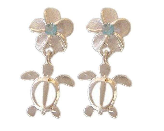 Hawaiian Jewelry Sterling Silver Blue CZ Plumeria Flower Honu Sea Turtle Earrings from Maui, Hawaii
