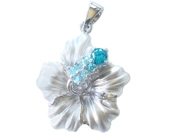 Hawaiian Jewelry Sterling Silver Hibiscus Flower Bluee CZ Pendant from Maui, Hawaii