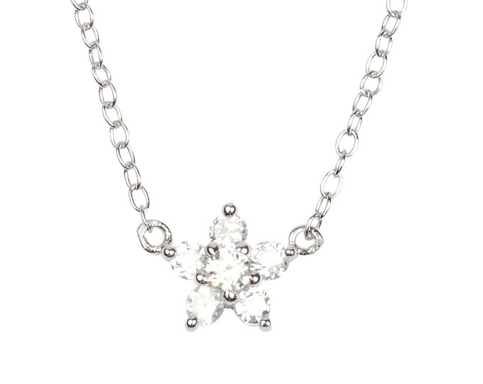 Hawaiian Jewelry Sterling Silver Plumeria Flower Cubic Zirconia Necklace from Maui, Hawaii