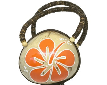 Real Coconut Shell Hawaiian Hand Painted Orange Flower Purse from Maui, Hawaii