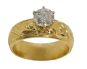 Hawaiian Heirloom Jewelry 6mm 14k Yellow Gold Cubic Zirconia Wedding Engagement Ring