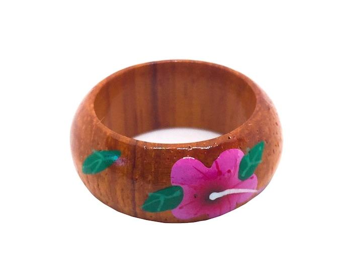 Hawaiian Jewelry 10mm Hand Painted Hawaiian Koa Wood Flower Ring from Maui, Hawaii