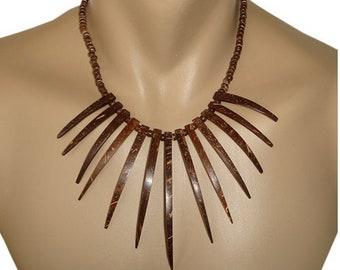 Hawaiian Jewelry Handmade LARGE Coconut Spike Hawaiian Warrior Necklace from Maui, Hawaii