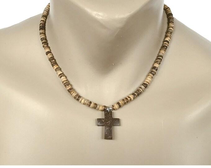 Hawaiian Jewelry Coconut Bead Hand Carved Coconut Shell Cross Necklace From Maui Hawaii