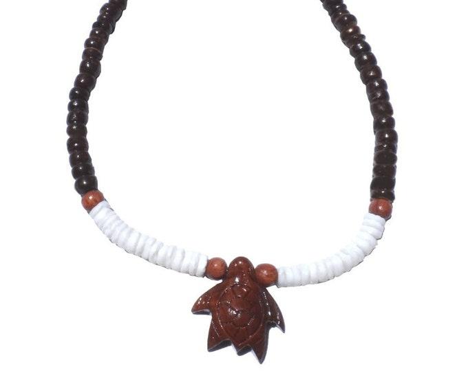 Hawaiian Jewelry Handmade Koa Wood Turtle with Puka Shells and BLACK Coconut Bead Anklet From Maui Hawaii
