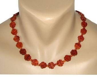 Hawaiian Jewelry Koa Wood Plumeria Flower Necklace From Maui Hawaii