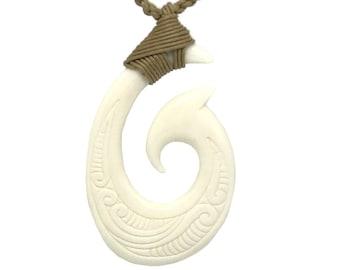 Hawaiian Jewelry Makau Bone Fish Hook Hand Carved Pendant Necklace From Maui Hawaii