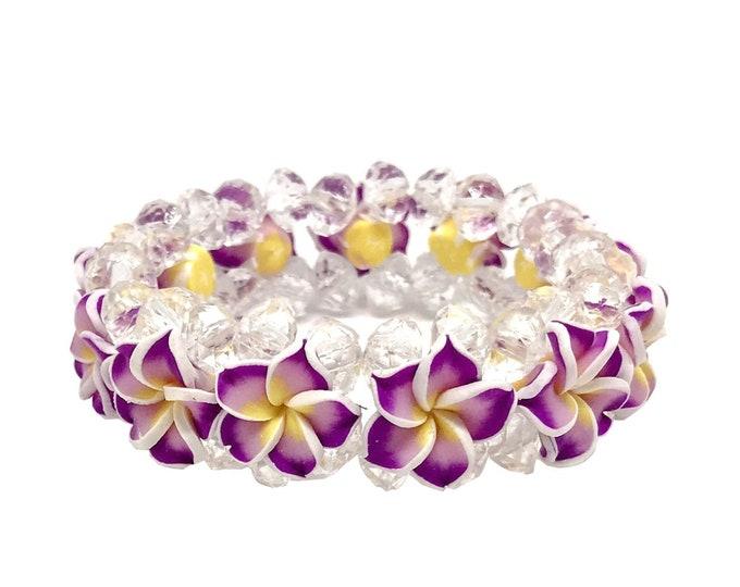 Hawaiian Jewelry Purple Fimo Plumeria Flower and Crystal Bead Elastic Bracelet from Maui, Hawaii