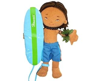 Island Friends 8.5 inch Hawaiian Surfer Boy Doll Keanu from Maui, Hawaii