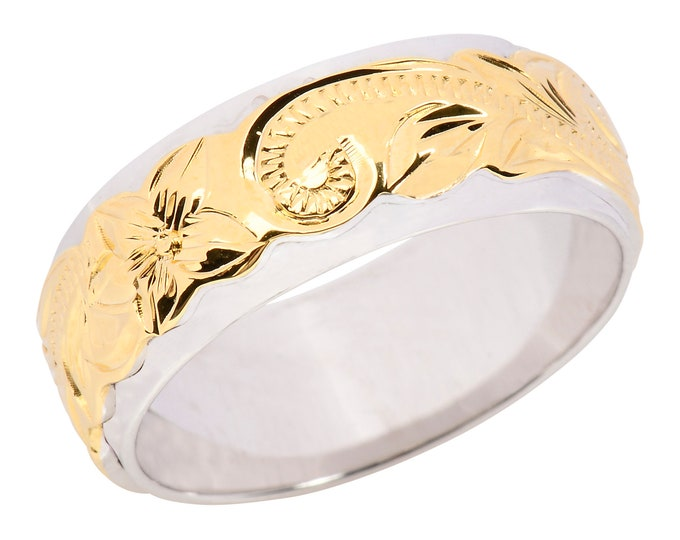 Hawaiian Jewelry Sterling Silver Flower Double Band Yellow Gold Finish  from Maui, Hawaii