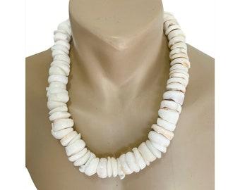 Hawaiian Jewelry Handmade RARE Extra Large Puka Shell Necklace with Koa Wood Bead Accents from Maui, Hawaii