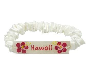 Hawaiian Handmade Elastic White Chip Hand Painted HAWAII Shell Bracelet from Maui, Hawaii