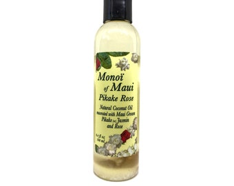 Monoi of Maui Pikake Rose Natural Coconut Oil for Skin, Hair,Tanning, & Massage from Maui, Hawaii