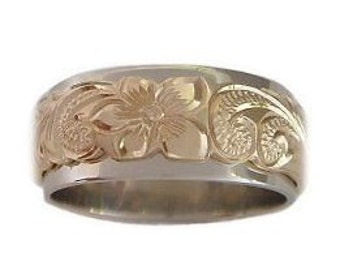 Hawaiian Heirloom Jewelry Double Band Plumeria Flower and Scroll 14k Gold Ring from Maui, Hawaii