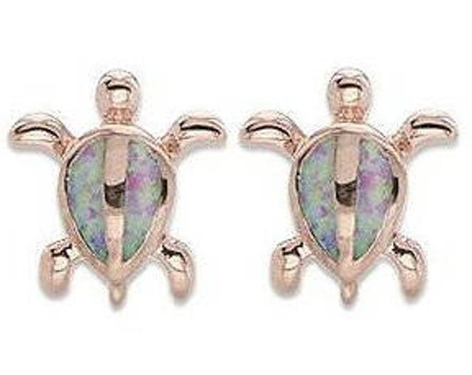 Sterling Silver Rose Gold Synthetic Pink Opal Honu Sea Turtle Hawaiian Jewelry Earrings from Maui, Hawaii