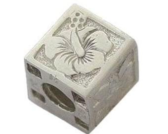 Hawaiian Heirloom Jewelry Flower Cube Sterling Silver Pendant from Maui, Hawaii